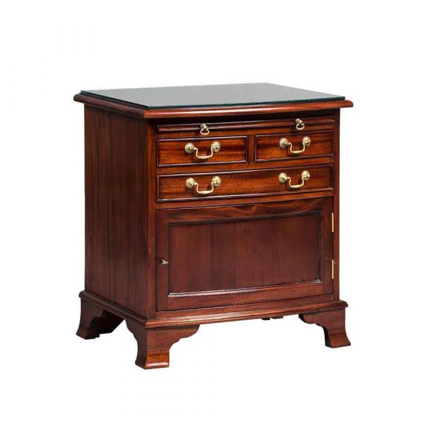 Bowfronted 3 Drawer pedestal with door