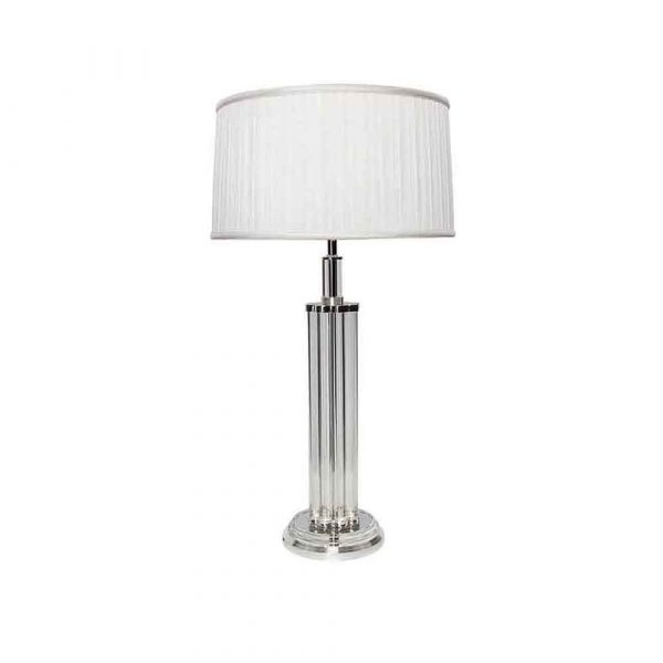 Crystal Lamp with Silver Trim