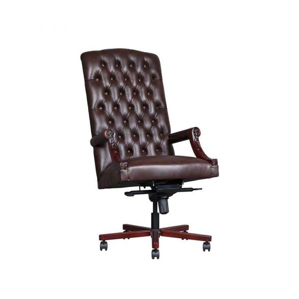 Gainsborough Tilt Swivel high back Solid mahogany chair. Price excludes leather