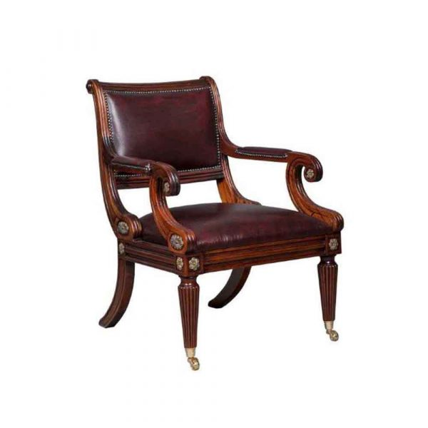 Regency Library Chair Solid mahogany chair with leather