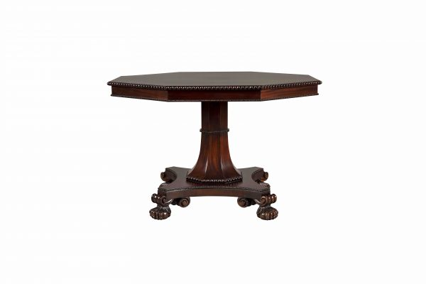 Octagonal Table with Lions Paw Base