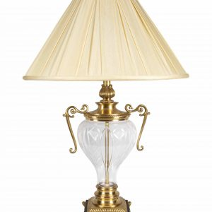 Antiqued Brass Crystal Lamp