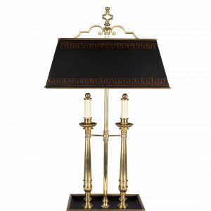 Two Light Antiqued Brass Desk Lamp